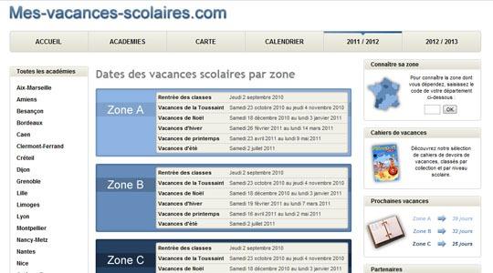 Calendrier des VACANCES SCOLAIRES en France